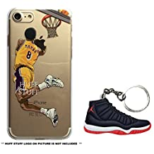 iPhone Case Ultra Slim Transparent Plus BRED MJ11 Keychain [NBA Player] Soft TPU Protective Case Cover for Apple iPhone 5/5s/SE 6/6s 6/6s Plus 7/7s 7/7s Plus