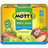 Mott's 100% Apple White Grape Juice, 6.75 fl oz pouches, 4 count (Pack of 8)
