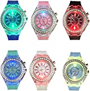 CdyBox Silicone Bling Watch LED Luminous Colorful Lights Sport Watches Girls Boys (6 Pack)