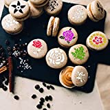 Konsait 36Pack Cookie Stencil Baking Templates Cake Decorating Stencil Drawing Templates Journal Supplies Plastic Painting Mold Tools Floral Leaf Cake Stencil for DIY Craft Wedding Birthday Party