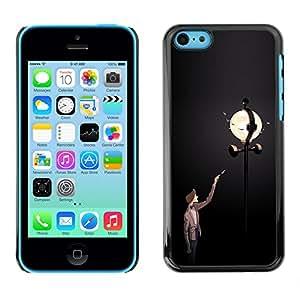 Shell-Star Arte & diseño plástico duro Fundas Cover Cubre Hard Case Cover para Apple iPhone 5C ( Street Light Lamp Post Man Dark Night Moon )