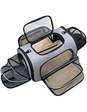 Siivton 4 Sides Expandable Pet Carrier, Airline Approved Soft-Sided Dog Cat Carrier Bag with Fleece Pad for Cats, Puppy and Small Animals