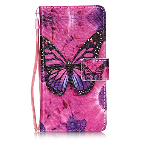 LG X Power Case, LG K6P Case, Everun [Slim Fit] [Card Slot] Premium Leather Wallet Case Book Style Flip Protective Stand Cover for LG X Power/LG K6P [Butterfly]