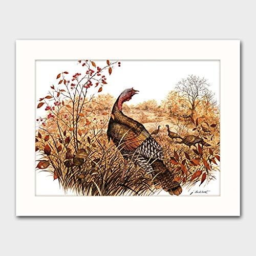 wild-turkey-art-w-mat-country-cabin-wall-decor-bird-artwork-late-autumn-forage-vintage-matted-print