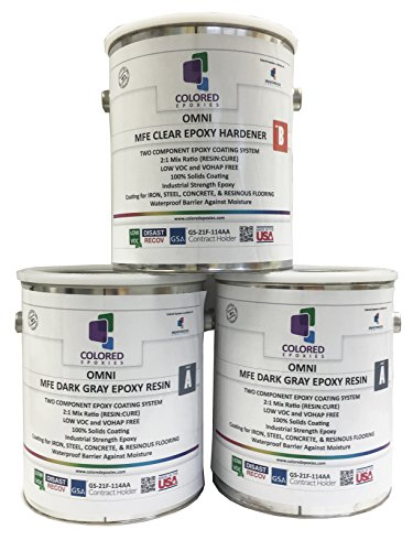 Plywood Kit (Coloredepoxies 10018 Dark Gray Epoxy Resin Coating Made with Beautiful and Vibrant Pigments, 100% solids, For Garage Floors, Basements, Concrete and Plywood. 3 Gallon Kit)