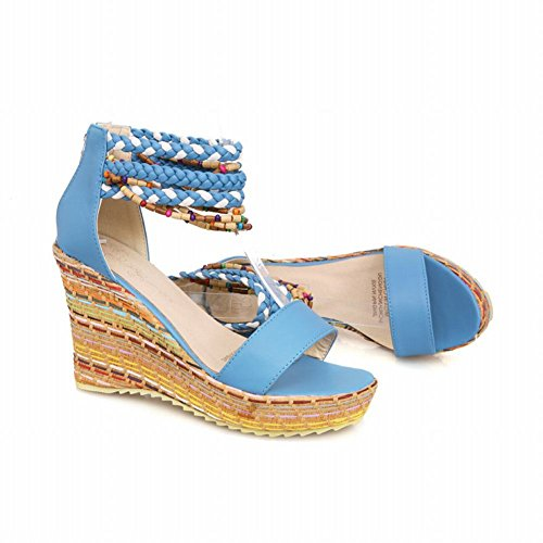 Carolbar Women's National Charm High Heel Wedge Zip Sandals Blue dEm1ETKii