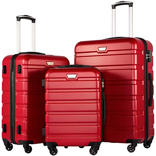 2 Piece Spinner Set - COOLIFE Luggage 3 Piece Set Suitcase Spinner Hardshell Lightweight TSA Lock (red3)