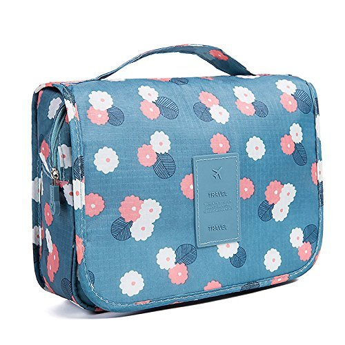 Nicedeal -Toiletry Bag Multifunction Cosmetic Bag Portable Makeup Pouch Waterproof Travel Hanging Organizer Bag for Women Girls, Blue Flowers Make-up Tools and Brushes for Beauty