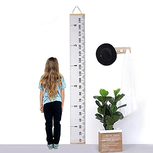WDHome Kid Growth Chart - Portable Hanging Ruller Wall Decor for Children,Roll Up Wood Frame Fabric Height Growth Chart,79'' x7.9''- Classic Style by WDHome