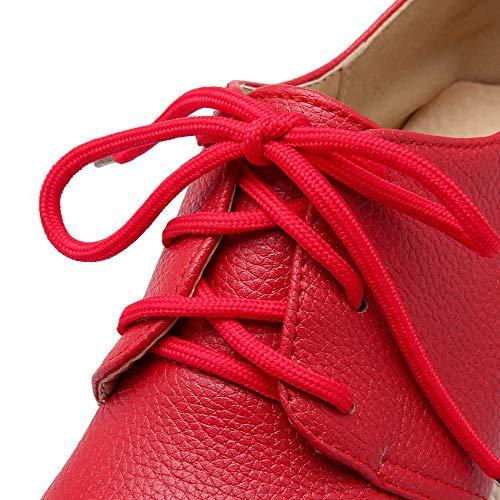 Tacco Puro Donna Flats Ballet Rosso Medio Allacciare GMMDB006204 Luccichio AgooLar IRq5q