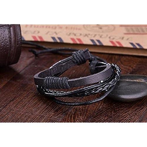f0840c14d89a 30% de descuento Surfista pulsera brazalete cuero trenzado cuatro filas  negro unisex ajustable 16cm a