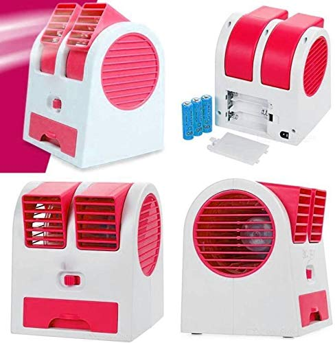 Ionix Plastic Mini USB Fragrance Air Cooling Fan Desktop Dual Blower Bladeless, Multicolor, 5 in