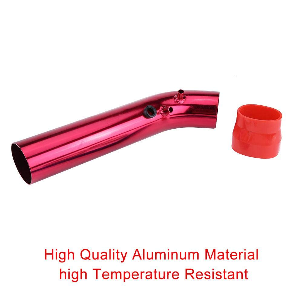 Acouto Air Intake Filter Alumimum Pipe Power Flow Kit,Universal Car Cold Air Intake Induction Pipe Filter Tube System red