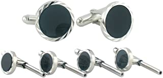 product image for David Donahue Men's Stud Set Sterling Silver Onyx Diamond Cut