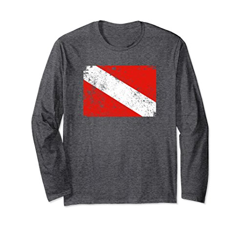 Unisex Vintage Dive Flag Shirt Long Sleeve Scuba Diving T-Shirt Small Dark ()