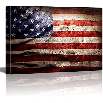 wall26 Canvas Prints Wall Art - Closeup of Grunge American Flag Vintage/Retro Style Patriotic Concept | Modern Wall Decor- 24