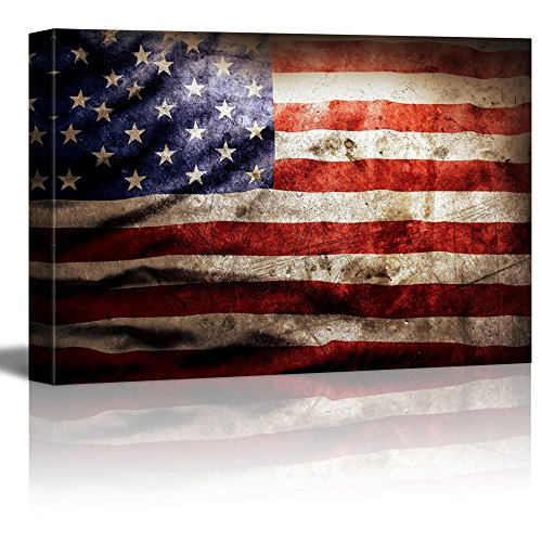 "Canvas Prints Wall Art - Closeup of Grunge American Flag Vintage/Retro Style Patriotic Concept | Modern Wall Decor/ Home Decoration Stretched Gallery Canvas Wrap Giclee Print & Ready to Hang - 16"" x 24"""