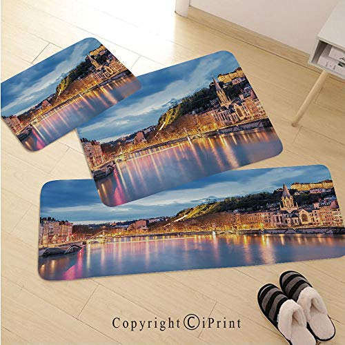 European 3D Non-Slip Kitchen Mat Runner Rug Set,3pc Kitchen Rug Set,View of Saone River in Lyon City at Evening France Blue Hour Historic Buildings,for Entryway Kitchen and Bedroom,Multicolor