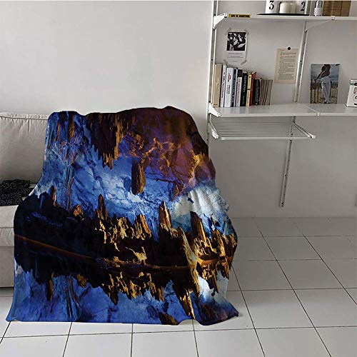 Children's blanket Throw Plush Throw Blanket (70 By 90 Inch,Reed Flute Cave Stalactite Stalagmite Formations Lighted Up Guilin China Mystical Real Photography High Resolution Print,Blue Navy Brown)