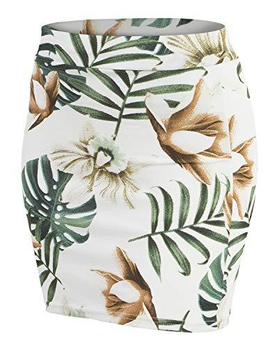 - Doublju Stretch Knit Bodycon Mini Skirt for Women with Plus Size IVORYGREEN Large