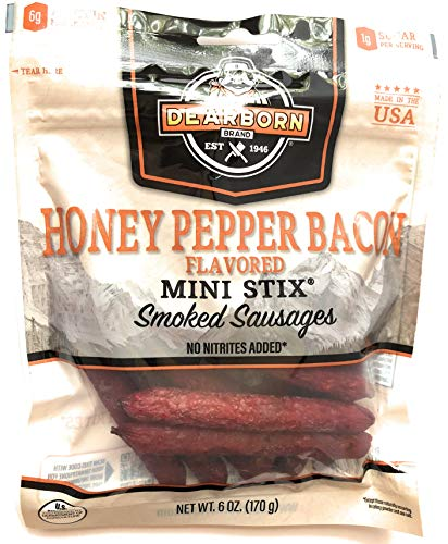 (Dearborn Brand, Honey Pepper Bacon Flavored Mini Stix Smoked Sausages, 6 Oz.)