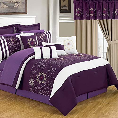 Lavish Home 66-00014-24pc-Q 24-Piece Room-in-a-Bag Amanda Bedroom Set, Queen
