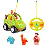 Cartoon R/C Dinosaur Safari Car Radio Control Toy with Music and Lights for Baby Toddlers Kids Children