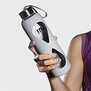 18oz Glass Water Bottle MIUCOLOR - Anti-slip Silicone Sleeve with Eco-friendly Shatter Resistant Borosilicate Glass Bottle, Plastic and Lead Free, Rational Grey
