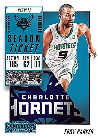 957cabf3 2018-19 Panini Contenders Season Ticket #14 Tony Parker Charlotte Hornets  Basketball Card