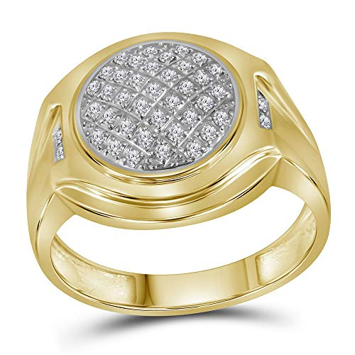 The Diamond Deal 10kt Yellow Gold Mens Round Diamond Circle Cluster Fashion Ring 1/3 Cttw