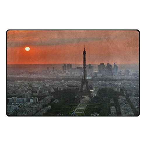 Area Rugs 60 x 39 inch Modern Soft Non-Slip Floor Mats Paris France French Eiffel Tower La Defense City Doormat Carpet for Home Decoration by (Halloween Tower Defense)