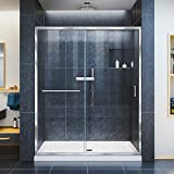 DreamLine Infinity-Z 30 in. D x 60 in. W x 74 3/4 in. H Clear Sliding Shower Door in Chrome and Left Drain White Base, DL-6970L-01CL
