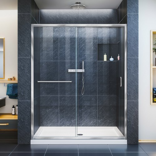 DreamLine Infinity-Z 30 in. D x 60 in. W x 74 3/4 in. H Clear Sliding Shower Door in Chrome and Left Drain White Base, DL-6970L-01CL by DreamLine