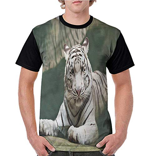 Graphic T-Shirt,Tiger,White Tiger Swimming Fun S-XXL Women Baseball Short Sleeve Shirts