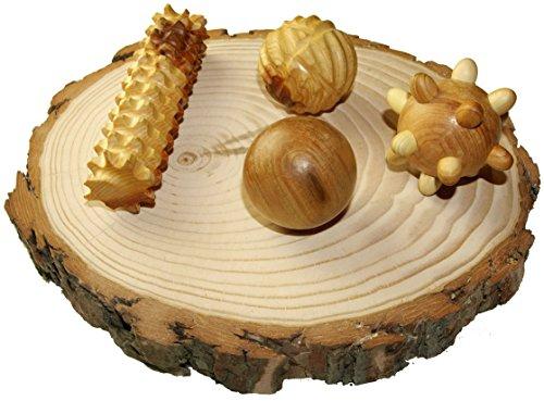 Eco Massager Set of Juniper Wood 3 Massage Balls Plus Pulm Foot Massage Roller