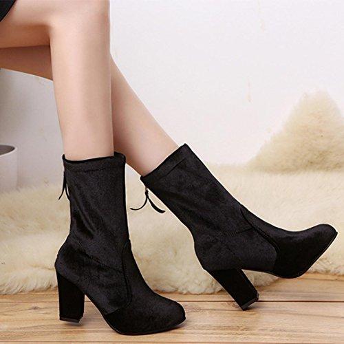 Noir Talons Erthome Femmes Chaudes Dames Cheville Mode Hauts De Chaussures Bottes Martin Bottes Boucle nFxqaUB