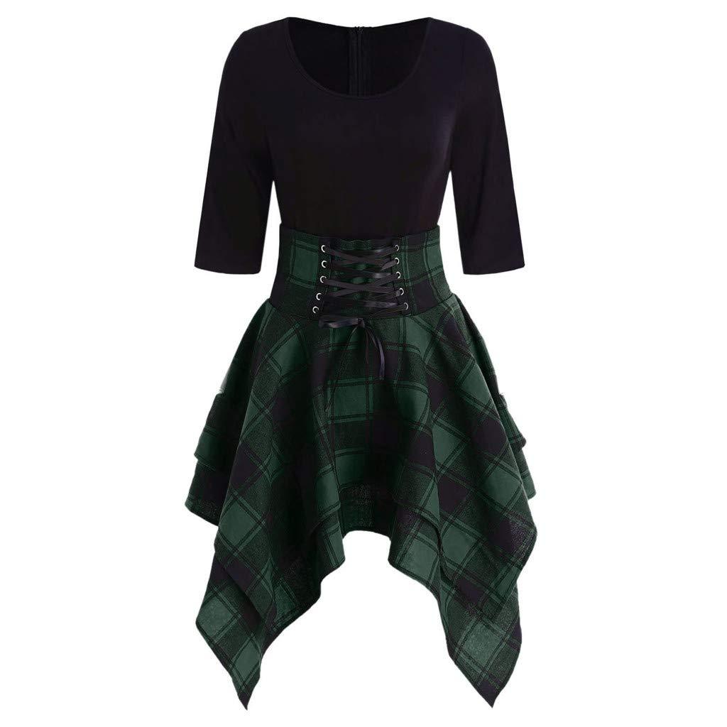Sttech1 Women Strap Half-Sleeve Round Neck Irregular Lace Up Tartan Plaid Print Asymmetrical Dress Green