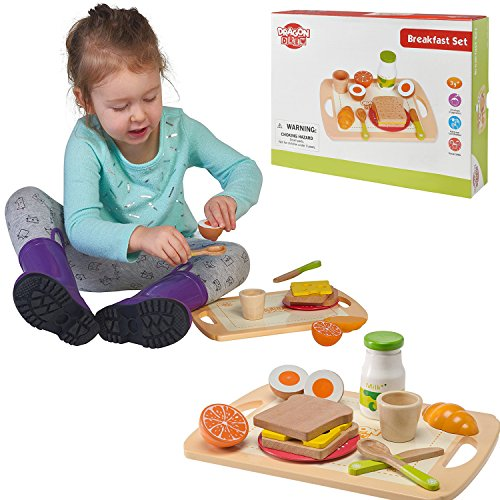 Pretend Play Food Wooden Breakfast Playset By Dragon Drew (13 PC Set)