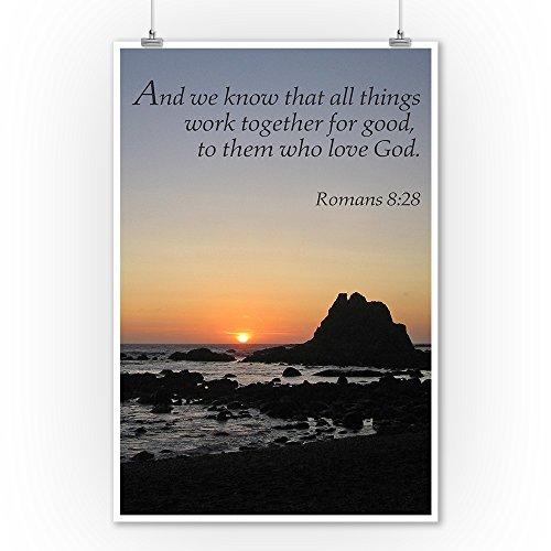 Romans 8:28 – Inspirational (9×12 Art Print, Wall Decor Travel Poster)