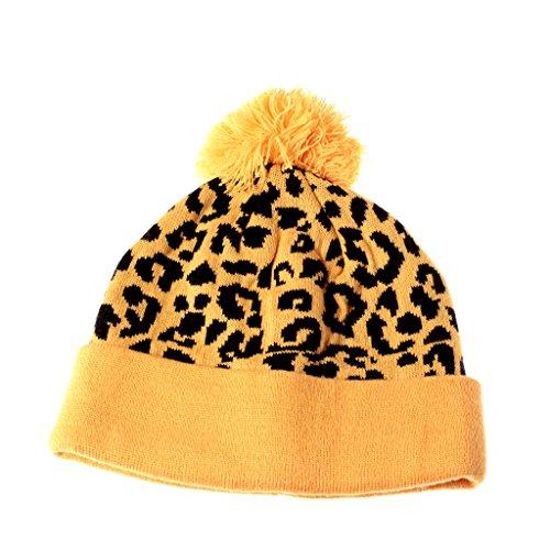 Yellow Cheetah Pom Beanie Leopard Print Pattern Cuffed Knit Hat Winter Cap