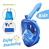 ROCONTRIP Snorkel Mask Full Face Kids, Panoramic 180°View Design, Anti-Fogging Anti-Leak with Adjustable