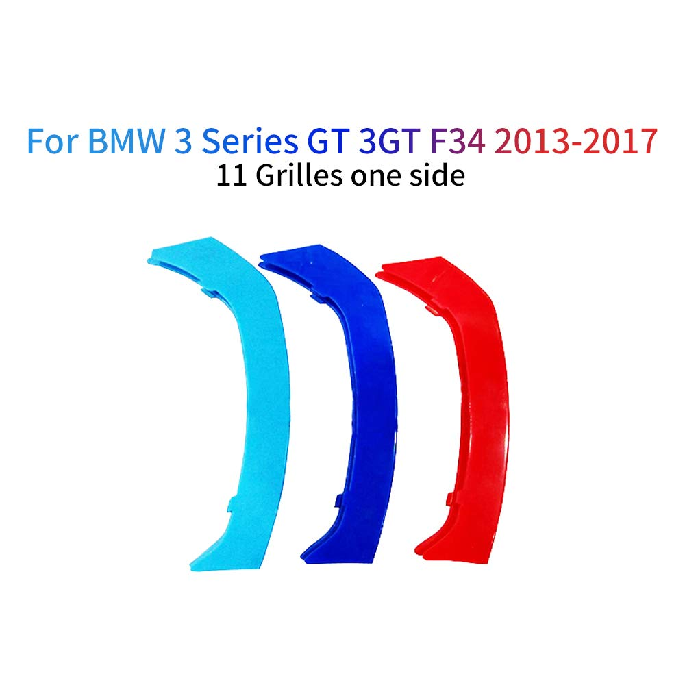 For BMW 3 Series E90 E91 320 325 330 335 2005-2008 M Color Front Grille Grill Cover Insert Trim Clips 3Pcs 12 Grilles