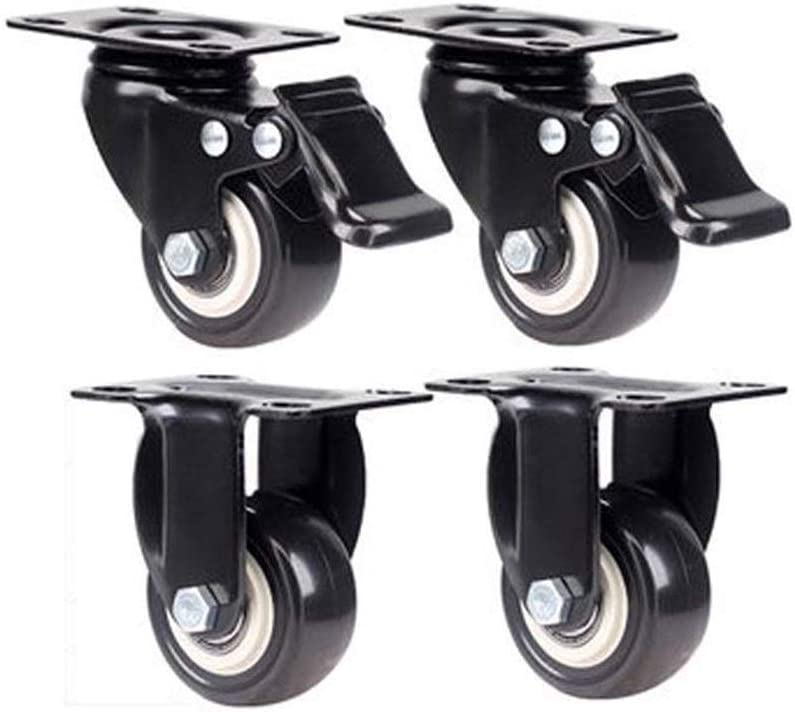 Color : F DONG60q 1.5 Inch Silent Caster with Brake Furniture Universal Wheel Solid Rubber Heavy Flatbed Trolley Universal Wheel