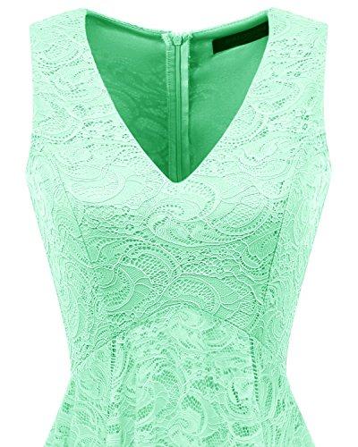 Elegant Cocktail unregelmäßig Brautjungfernkleider Damen bridesmay Mint Spitzenkleid ZwR1x