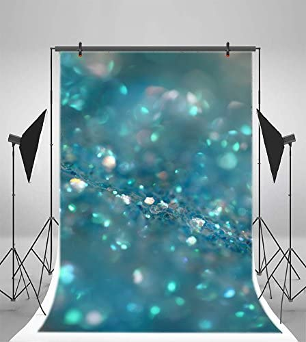 YEELE 4x5ft Glitter Blue Bokeh Photography Backdrop Colorful Blurred Abstract Background Birthday Wedding New Year Christmas Picture Kids Adults Artistic Portrait Photoshoot Studio Props