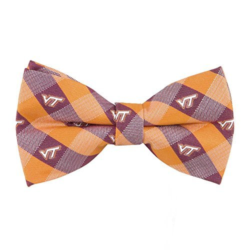 (Virginia Tech Hokies Checked Logo Bow Tie - NCAA College Team Logo)