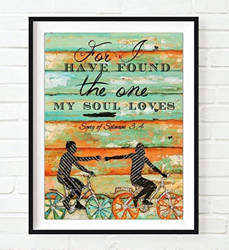 (For I have found the One my Soul loves - Danny Phillips UNFRAMED art PRINT, Songs of Solomon 3:4 -Biking Bicycle Cycling wall decor poster wedding engagement Anniversary gift for)