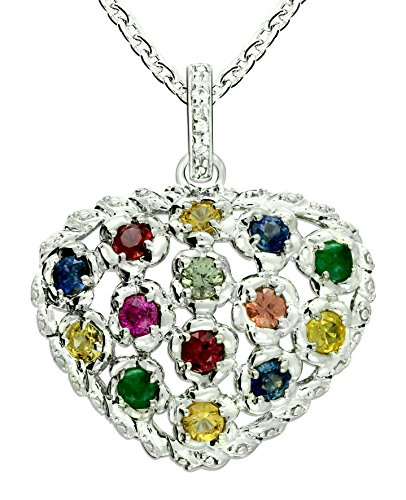 RB Gems Sterling Silver 925 Pendant Necklace Heart Shape Design GENUINE GEMSTONE, RHODIUM-PLATED Finish (ruby) (Ruby Emerald Pendant)