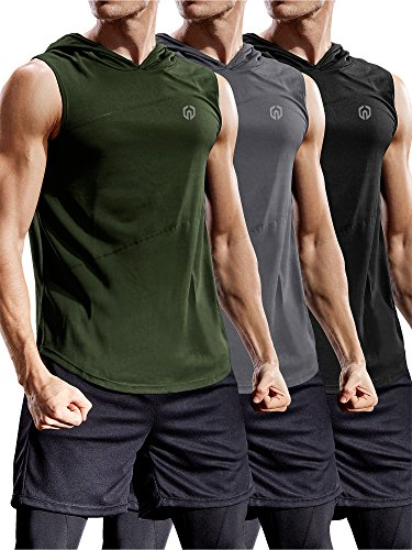 Neleus 3 Pack Workout Athletic Gym Muscle Tank Top with Hoods,5036,Black,Grey,Olive Green,US XL,EU 2XL