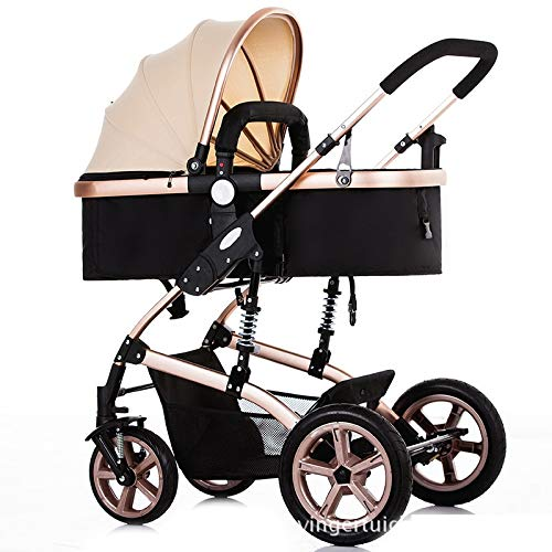 High Landscape Toddlers Baby pushchairs Bidirectional Newborn Strollers Suitable for Children 0-3 Years Old Fashion Four Seasons prams can fold (Color : Gold)